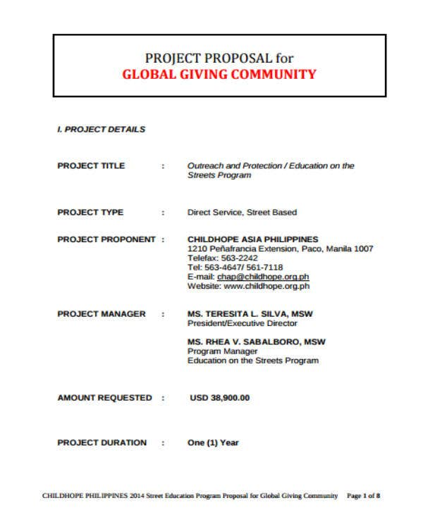 example project proposal for ngo funding pdf