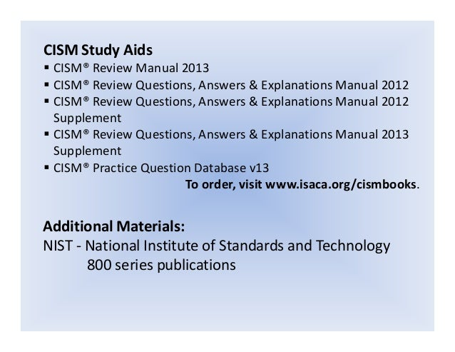 cism review questions answers and explanations manual 2011 supplement