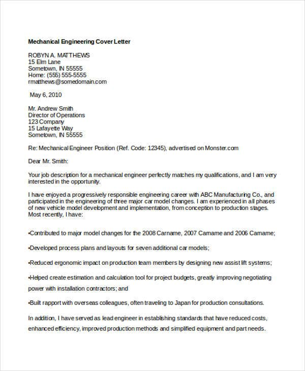 cover letter for mechanical engineering job pdf